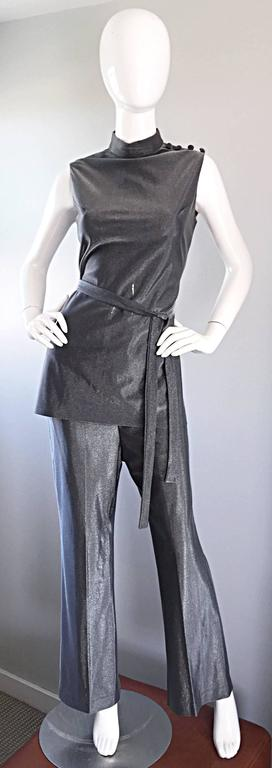Vintage 1970s Gunmetal Silver Three Piece 70s Belted Tunic & Flared Leg Trousers 8