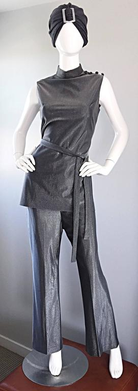 Vintage 1970s Gunmetal Silver Three Piece 70s Belted Tunic & Flared Leg Trousers 10