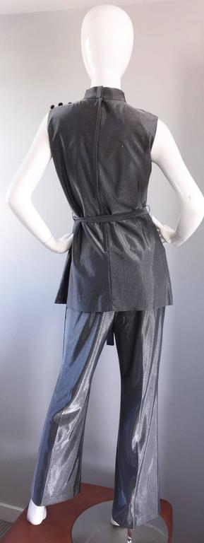 Vintage 1970s Gunmetal Silver Three Piece 70s Belted Tunic & Flared Leg Trousers 7