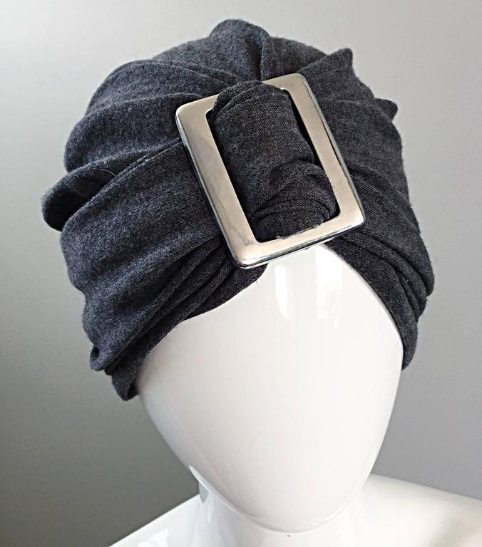 6fc235149d2 Awesome vintage 1960s CHRISTIAN DIOR for SAKS FIFTH AVENUE charcoal gray  soft wool turban hat
