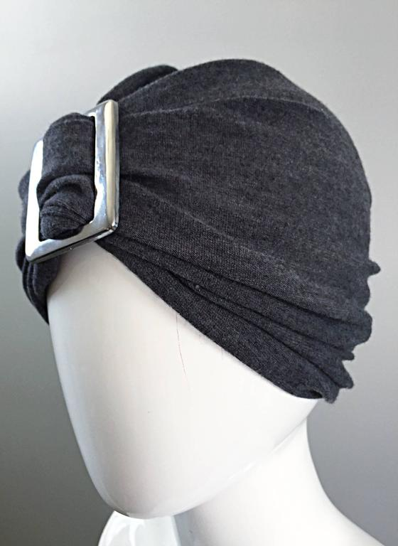 c8aac4d9093 Black Vintage Christian Dior for Saks 5th Ave 1960s 60s Grey Wool Turban  Silver Buckle For