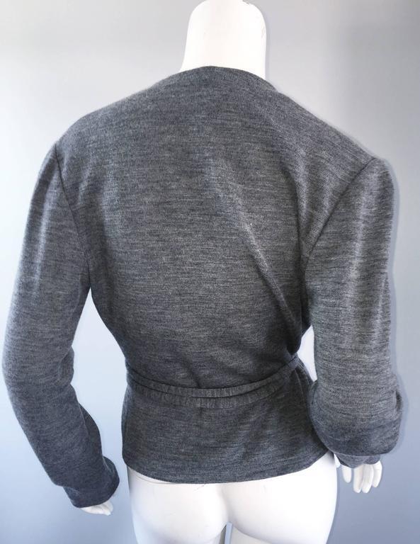 Geoffrey Beene Vintage Dark Heather Grey Size 6 Light Wool Wrap Cardigan Sweater 5