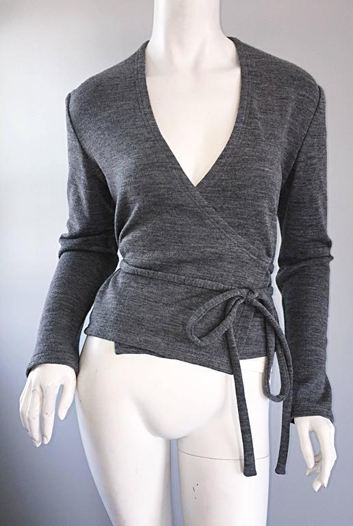 Geoffrey Beene Vintage Dark Heather Grey Size 6 Light Wool Wrap Cardigan Sweater 9