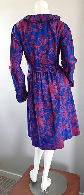 Women's 1960s Yen Yen of Malaya Blue & Red Silk Vintage Ruffle 60s Flower Thai Dress For Sale