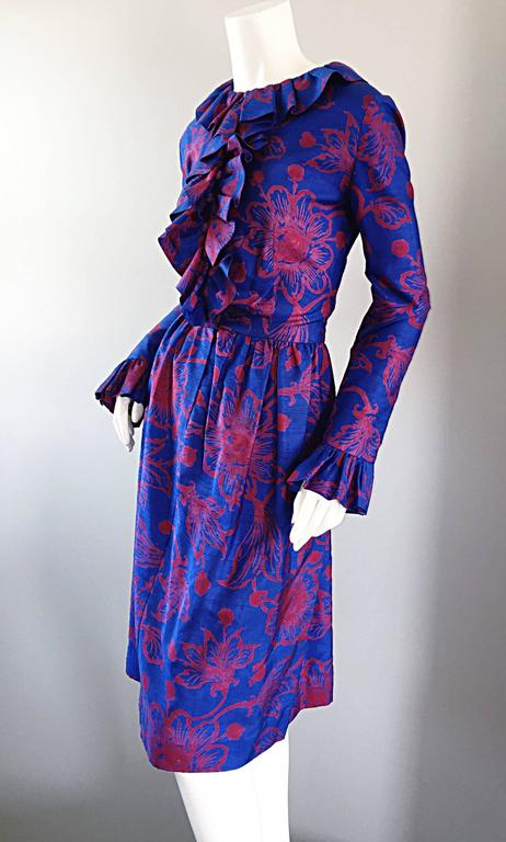 Purple 1960s Yen Yen of Malaya Blue & Red Silk Vintage Ruffle 60s Flower Thai Dress For Sale