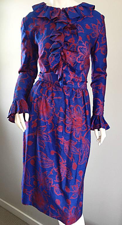 1960s Yen Yen of Malaya Blue & Red Silk Vintage Ruffle 60s Flower Thai Dress For Sale 2