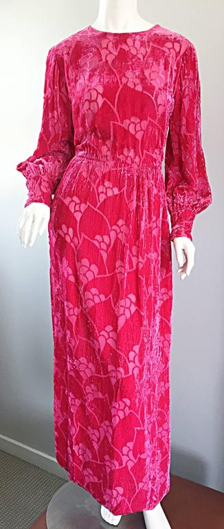 Vintage Elizabeth Arden 1970s Hot Pink Fuchsia Crushed Silk Velvet Maxi Dress 2
