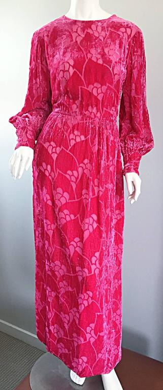 Vintage Elizabeth Arden 1970s Hot Pink Fuchsia Crushed Silk Velvet Maxi Dress 9