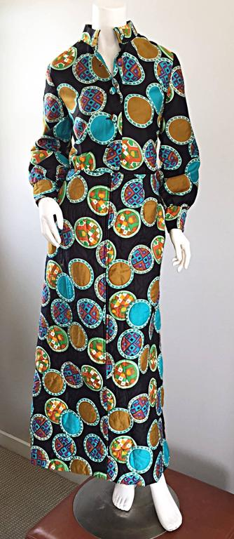 Women's Vintage Dynasty I Magnin Chinese Inspired 1970s 70s Long Sleeve Boho Maxi Dress For Sale