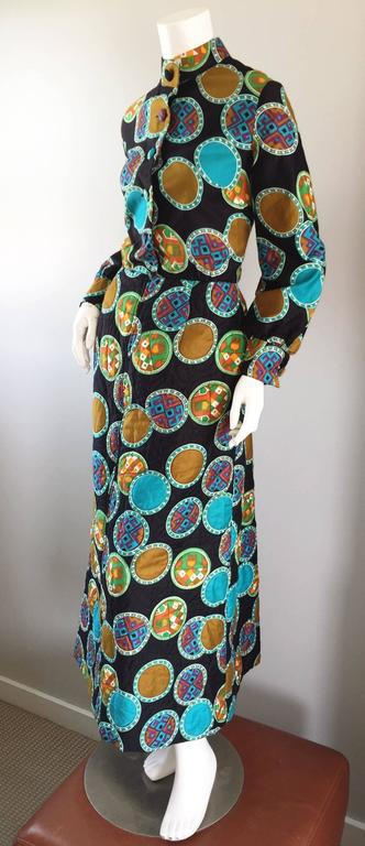 Vintage Dynasty I Magnin Chinese Inspired 1970s 70s Long Sleeve Boho Maxi Dress In Excellent Condition For Sale In Chicago, IL