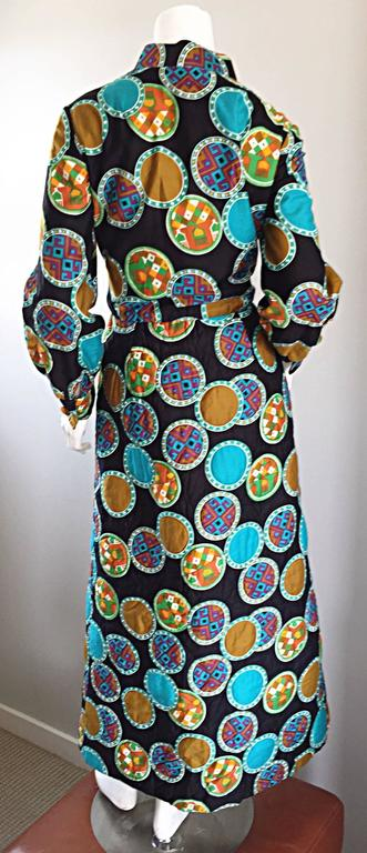 Vintage Dynasty I Magnin Chinese Inspired 1970s 70s Long Sleeve Boho Maxi Dress For Sale 1