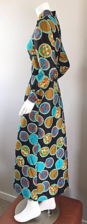 Vintage Dynasty I Magnin Chinese Inspired 1970s 70s Long Sleeve Boho Maxi Dress For Sale 3
