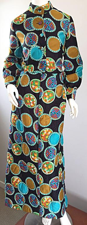 Vintage Dynasty I Magnin Chinese Inspired 1970s 70s Long Sleeve Boho Maxi Dress For Sale 4