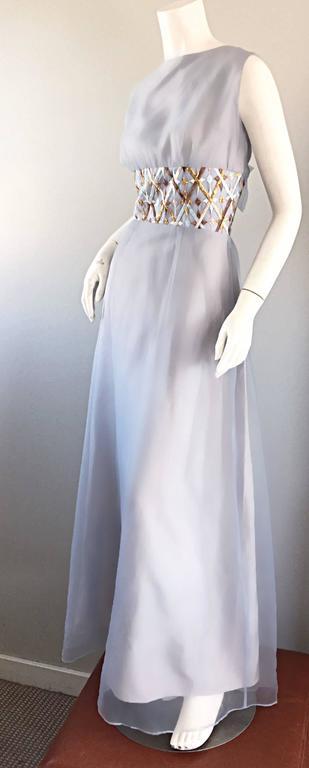 Melbray Of London 1960s Ice Blue Silk Chiffon Vintage 60s