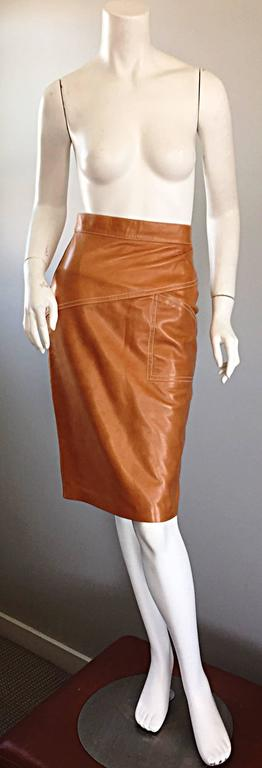 ESCADA  Margaretha Ley Vintage High Waist Leather Saddle Cognac Tan Pencil Skirt 6