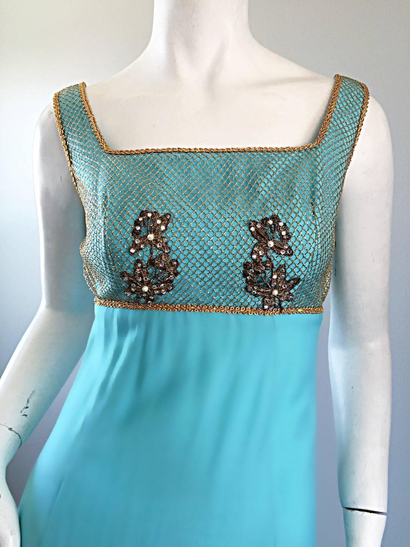 Sylvia Ann 1960s Aqua Light Blue Teal Gold Rhinestone