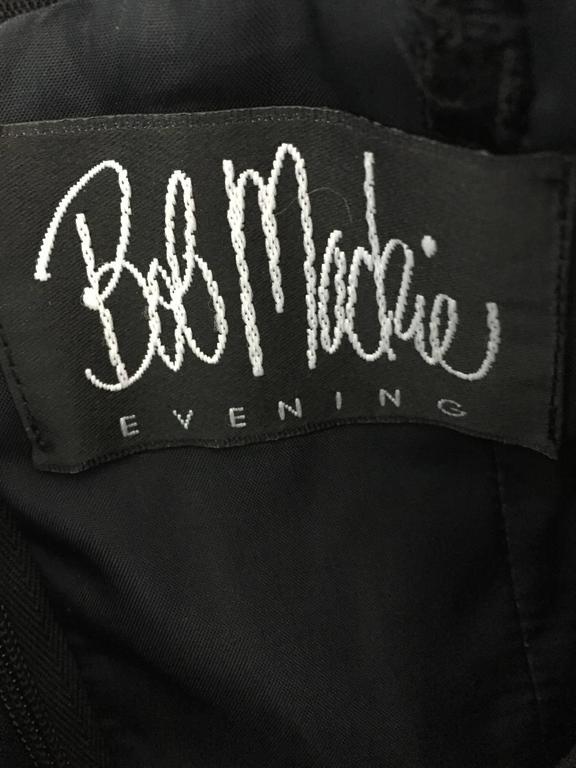 BOB MACKIE Vintage 1990s Black Silk Lace Sequined Size 8 Off - Shoulder Gown For Sale 6
