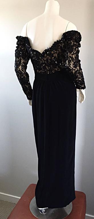 Women's BOB MACKIE Vintage 1990s Black Silk Lace Sequined Size 8 Off - Shoulder Gown For Sale