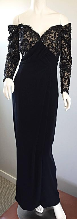 BOB MACKIE Vintage 1990s Black Silk Lace Sequined Size 8 Off - Shoulder Gown For Sale 1