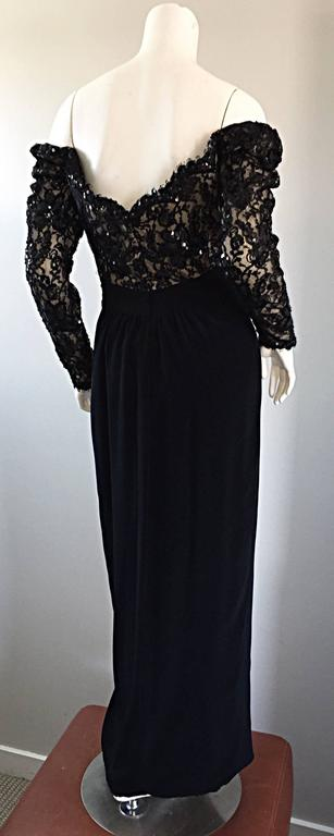 BOB MACKIE Vintage 1990s Black Silk Lace Sequined Size 8 Off - Shoulder Gown For Sale 4