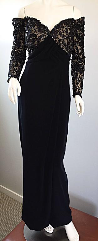 BOB MACKIE Vintage 1990s Black Silk Lace Sequined Size 8 Off - Shoulder Gown For Sale 5