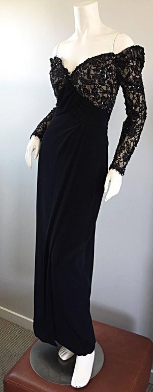BOB MACKIE Vintage 1990s Black Silk Lace Sequined Size 8 Off - Shoulder Gown For Sale 2