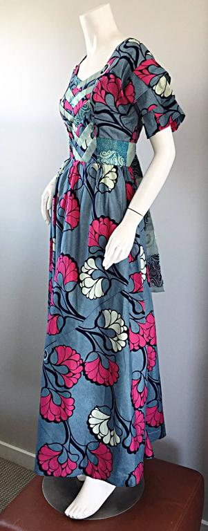 Women's Chic 1970s Vintage Blue and Pink Cotton + Silk Brocade Belted 70s Maxi Dress  For Sale