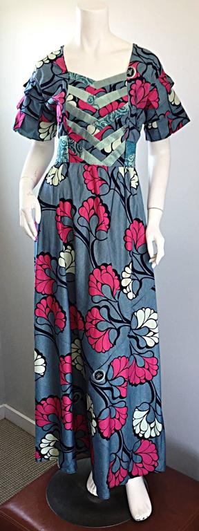 Chic 1970s Vintage Blue and Pink Cotton + Silk Brocade Belted 70s Maxi Dress  For Sale 3