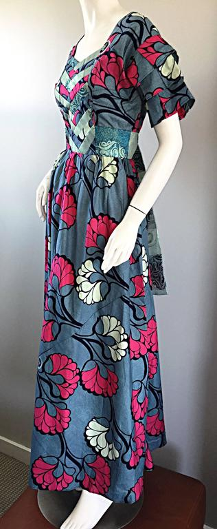 Chic 1970s Vintage Blue and Pink Cotton + Silk Brocade Belted 70s Maxi Dress  For Sale 2
