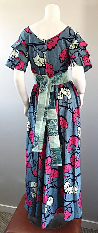 Chic 1970s Vintage Blue and Pink Cotton + Silk Brocade Belted 70s Maxi Dress  For Sale 1