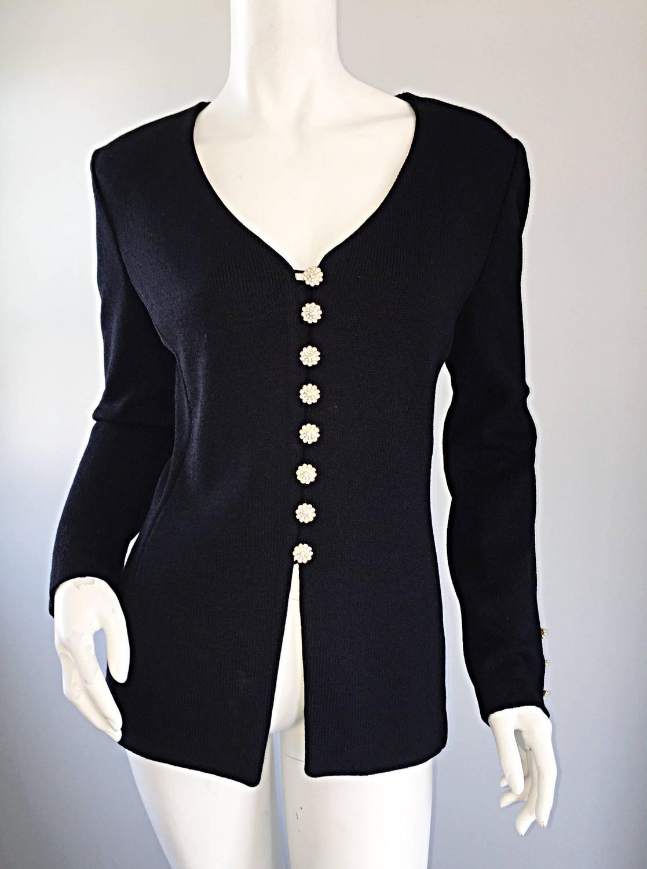 Knitting Pattern Evening Jacket : VINTAGE St John Black Evening Knit Sweater Jacket Cardigan w/ Removable Colla...