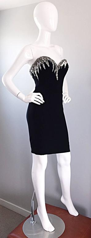 Bob Mackie Vintage Black and Silver Sequin Bodycon Strapless Mini Dress Size 4 For Sale 2