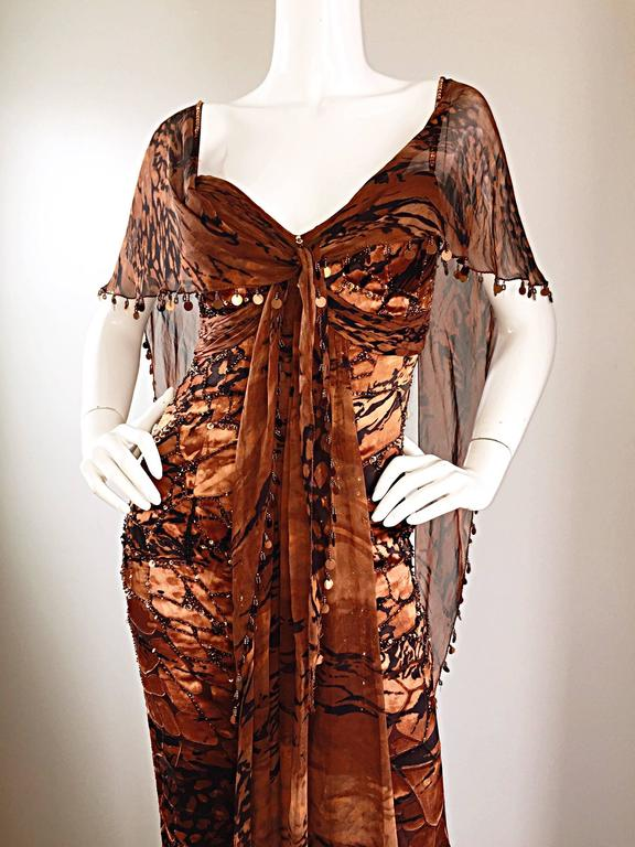 VINTAGE Diane Freis Silk Chiffon Rust + Brown Beaded Boho 1990s Dress Size 4 90s In Excellent Condition For Sale In San Francisco, CA