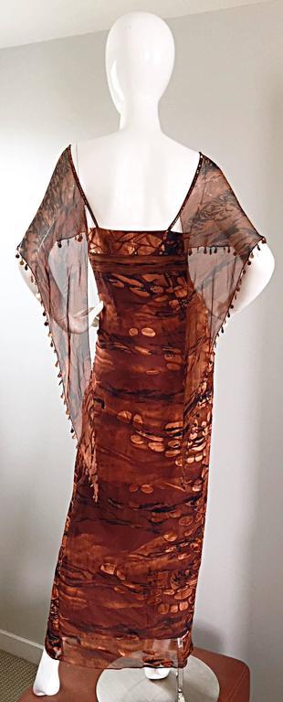 Women's VINTAGE Diane Freis Silk Chiffon Rust + Brown Beaded Boho 1990s Dress Size 4 90s For Sale