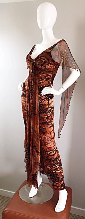 VINTAGE Diane Freis Silk Chiffon Rust + Brown Beaded Boho 1990s Dress Size 4 90s For Sale 1