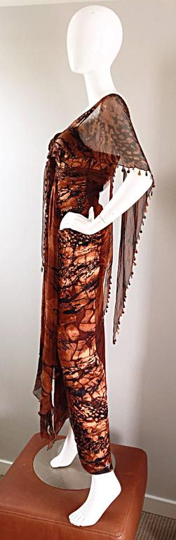 VINTAGE Diane Freis Silk Chiffon Rust + Brown Beaded Boho 1990s Dress Size 4 90s For Sale 2