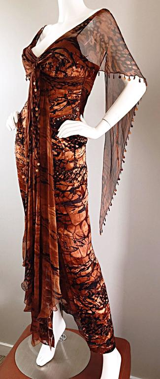 VINTAGE Diane Freis Silk Chiffon Rust + Brown Beaded Boho 1990s Dress Size 4 90s For Sale 3