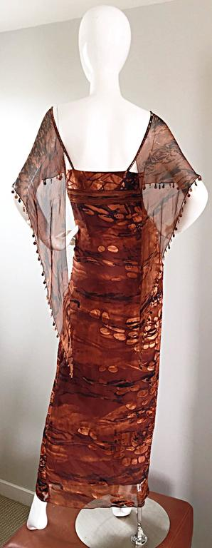 VINTAGE Diane Freis Silk Chiffon Rust + Brown Beaded Boho 1990s Dress Size 4 90s For Sale 4