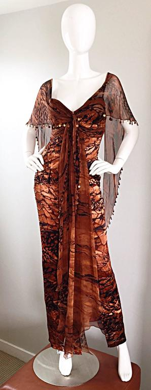 VINTAGE Diane Freis Silk Chiffon Rust + Brown Beaded Boho 1990s Dress Size 4 90s For Sale 5