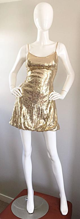 Sexy 1990s Vintage Gold Sequin 90s Mini Babydoll Dress Size XS - Small  2