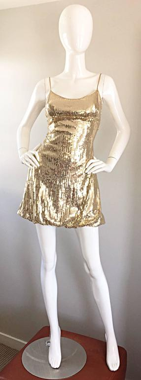 Sexy 1990s Vintage Gold Sequin 90s Mini Babydoll Dress Size XS - Small  9