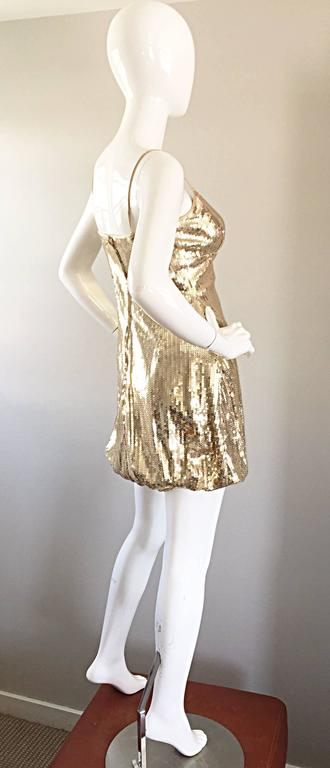 Sexy 1990s Vintage Gold Sequin 90s Mini Babydoll Dress Size XS - Small  6