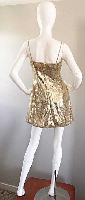 Sexy 1990s Vintage Gold Sequin 90s Mini Babydoll Dress Size XS - Small  3