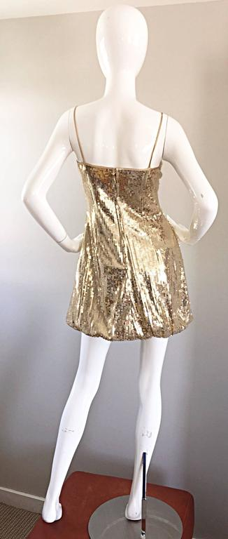 Sexy 1990s Vintage Gold Sequin 90s Mini Babydoll Dress Size XS - Small  8