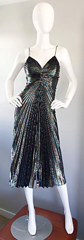 AMAZING 1970s Samir Rainbow Metallic Sexy Pleated Vintage Disco 70s Dress 2