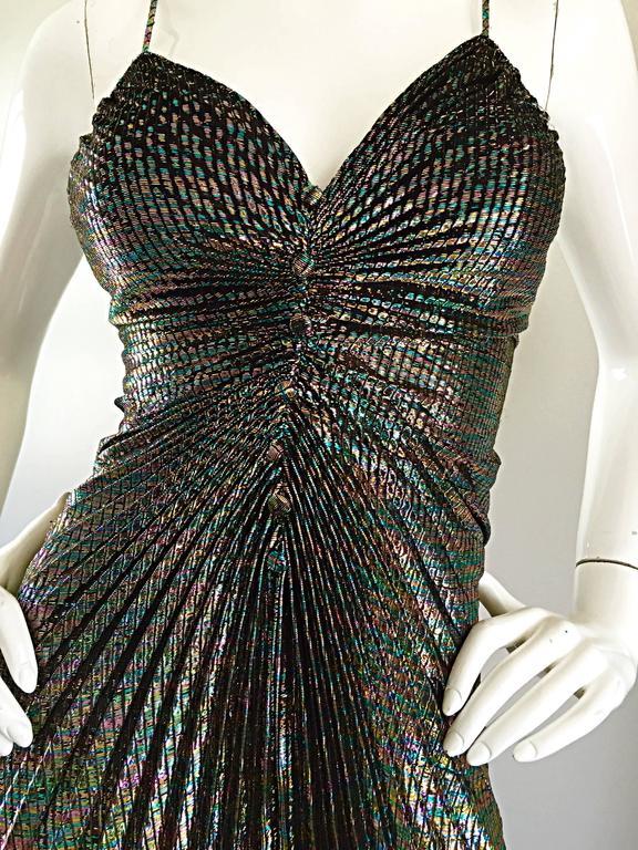 AMAZING 1970s Samir Rainbow Metallic Sexy Pleated Vintage Disco 70s Dress 3