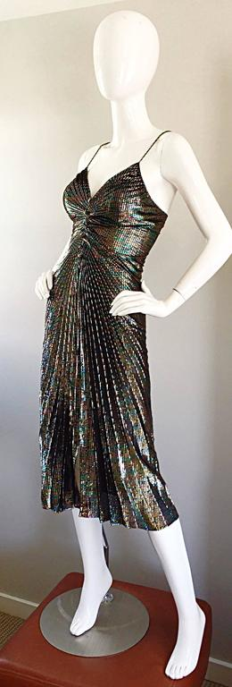 AMAZING 1970s Samir Rainbow Metallic Sexy Pleated Vintage Disco 70s Dress 4