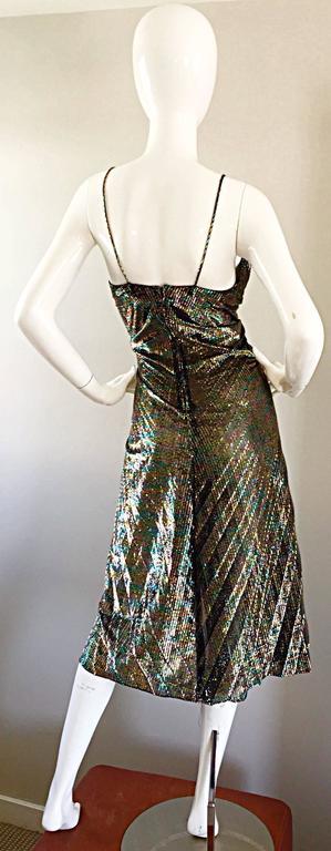 AMAZING 1970s Samir Rainbow Metallic Sexy Pleated Vintage Disco 70s Dress 5