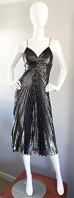 AMAZING 1970s Samir Rainbow Metallic Sexy Pleated Vintage Disco 70s Dress 6
