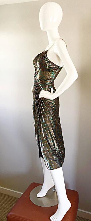 AMAZING 1970s Samir Rainbow Metallic Sexy Pleated Vintage Disco 70s Dress 7